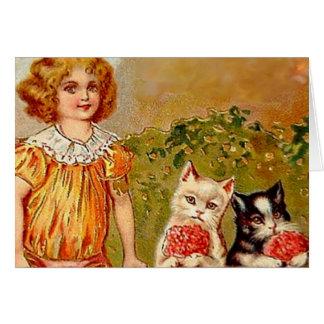 Chica y gatos del Victorian cualquier espacio en b Tarjeta De Felicitación