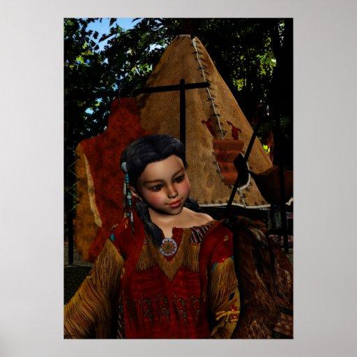 Chica y halcón nativos del susurro del halcón posters