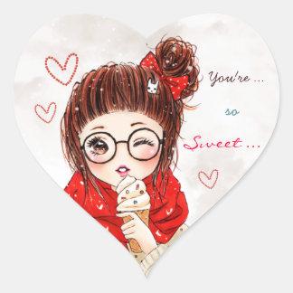 Chica y helado dulces pegatina en forma de corazón