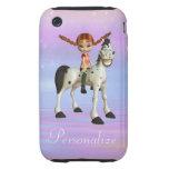 Chica y iPhone personalizado caballo feliz 3/3GS iPhone 3 Tough Protector