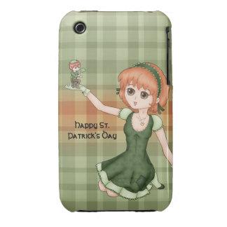 Chica y Leprechaun Redheaded del animado Case-Mate iPhone 3 Cárcasas
