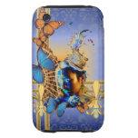 Chica y mariposas azules bonitos tough iPhone 3 cárcasa