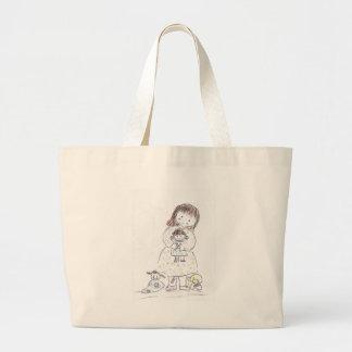 Chica y muñeca bolsa de mano