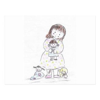 Chica y muñeca tarjeta postal