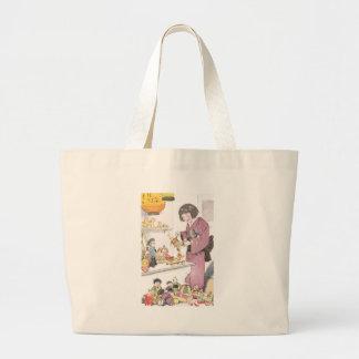 Chica y muñecas japoneses bolsa tela grande
