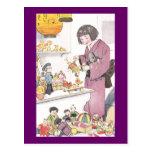 Chica y muñecas japoneses postal