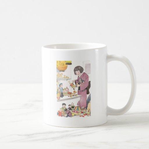 Chica y muñecas japoneses taza de café