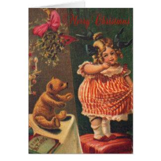 Chica y oso del vintage de las Felices Navidad Tarjeta De Felicitación