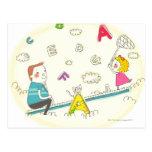 Chica y padre que se sientan en la oscilación tarjeta postal