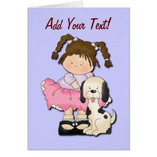 Chica y perrito (Pink) Tarjetas