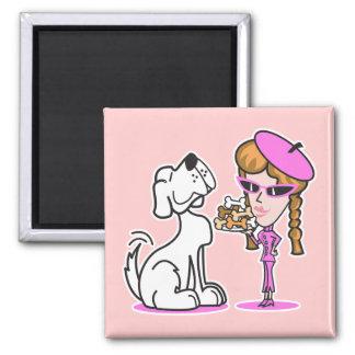 chica y perro casero retros imán de frigorífico