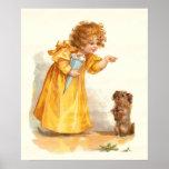 Chica y perro del Victorian del vintage de Frances Impresiones