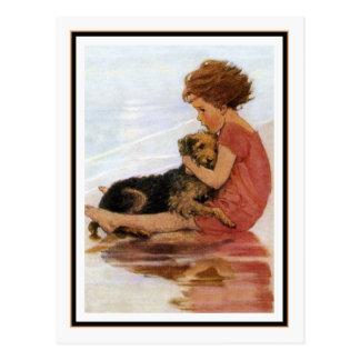 Chica y perro del vintage de Jessie Willcox Smith Tarjeta Postal