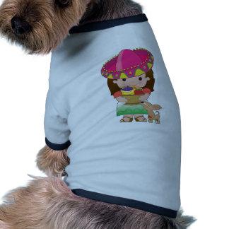 Chica y perro mexicanos camiseta de mascota