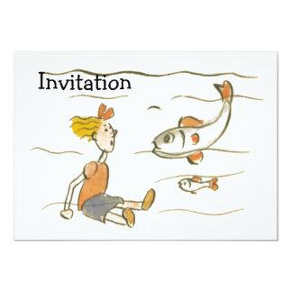 """Chica y pescados invitación 5"""" x 7"""""""