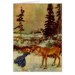 Chica y reno tarjeta