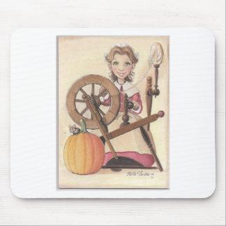 chica y rueda de hilado tapetes de ratones