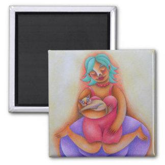 Chica y su gato acuarela y lápiz de color arte 2 inch square magnet