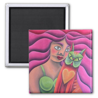 Chica y su gato verde pintura óleo arte 2 inch square magnet