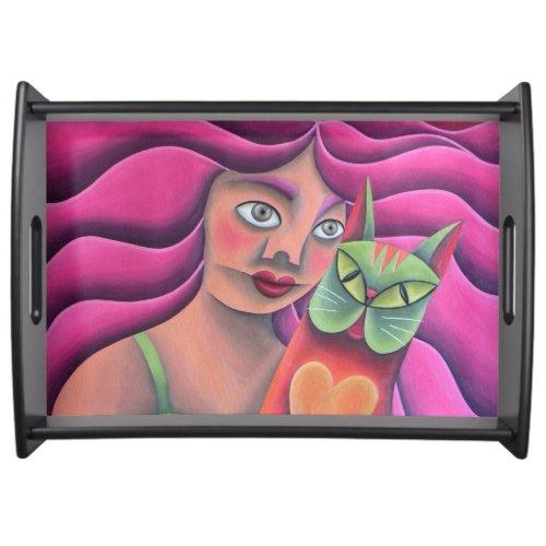 Chica y su gato verde, pintura, óleo, arte