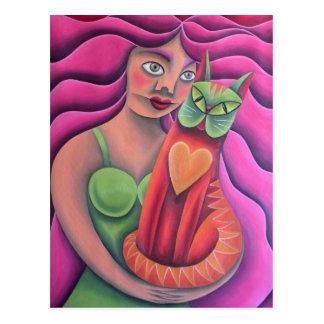 Chica y su gato verde pintura óleo arte tarjetas postales