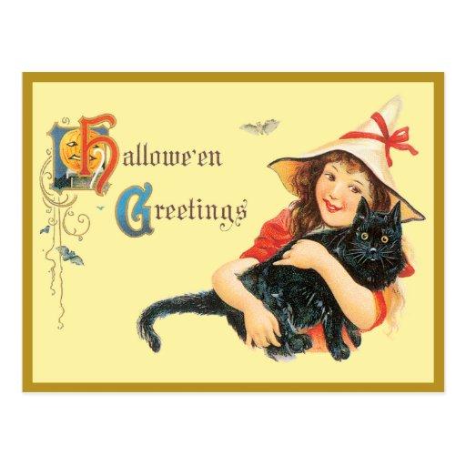 Chica y su postal del vintage del gato