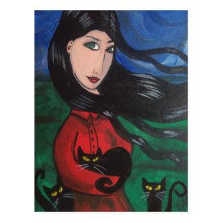 Chica y sus gatos negros tarjeta postal
