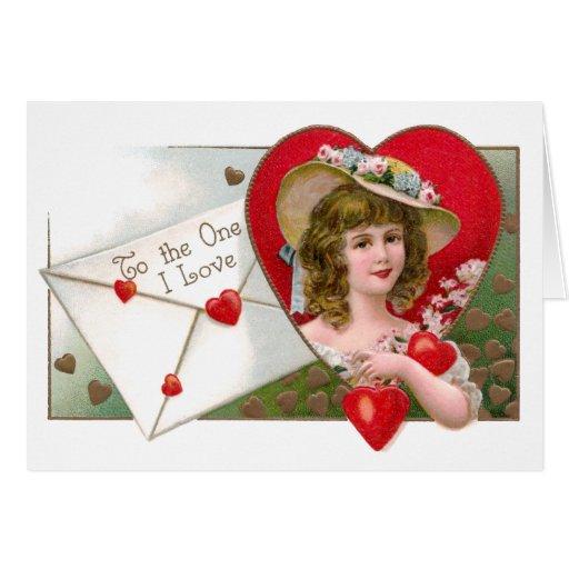 Chica y tarjeta del día de San Valentín del vintag