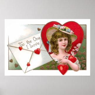Chica y tarjeta del día de San Valentín del vintag Póster