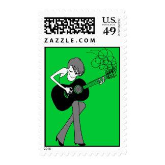 Chica y una guitarra Pastage (P24) Sellos