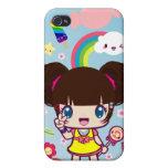 Chica Yuriko de los decoros de Kawaii iPhone 4/4S Fundas