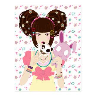 Chica Yuriko - fondo de Harajuku Postales