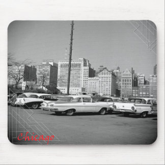 Chicago 1964 Skyline and Beautiful Tailfin Cars Mouse Pad