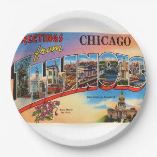 Chicago #2 Illinois IL Old Vintage Travel Souvenir Paper Plate