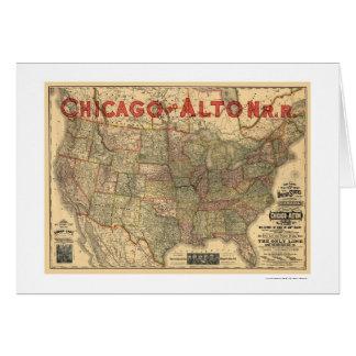 Chicago & Alton Railroad Map 1883 Card