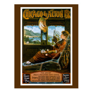 Chicago & Alton Railroad Vintage Travel Poster Postcard