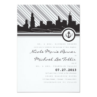 "Chicago Anchor Monogram Wedding Invitation 5"" X 7"" Invitation Card"