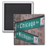 Chicago and Michigan Avenue signposts, Chicago, 2 Inch Square Magnet