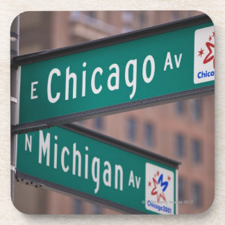 Chicago and Michigan Avenue signposts, Chicago, Beverage Coaster