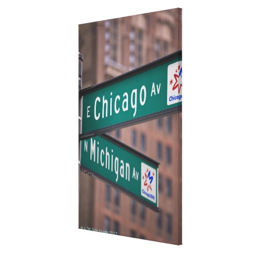 Chicago and Michigan Avenue signposts, Chicago, Stretched Canvas Print