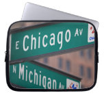Chicago and Michigan Avenue signposts, Chicago, Laptop Computer Sleeves