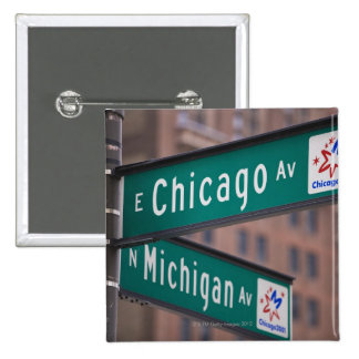 Chicago and Michigan Avenue signposts, Chicago, Pinback Button