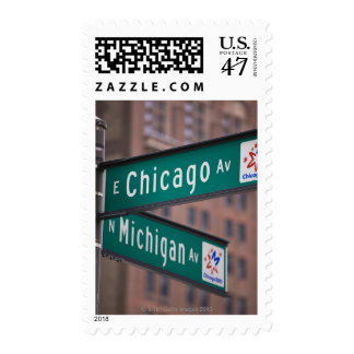 Chicago and Michigan Avenue signposts, Chicago, Postage