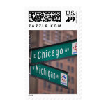 Chicago and Michigan Avenue signposts, Chicago, Postage Stamps