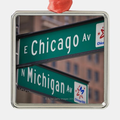 Chicago and Michigan Avenue signposts, Chicago, Square Metal Christmas Ornament