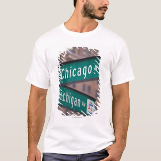 Chicago and Michigan Avenue signposts, Chicago, T-Shirt