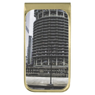 Chicago Architecture in The Round Gold Finish Money Clip