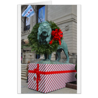 Chicago Art Institute Lion Decorated for Christmas Card