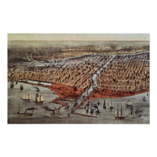 Chicago As it Was c 1880 Poster