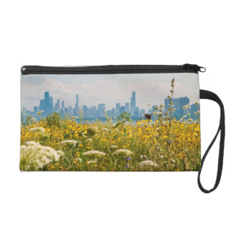 Chicago as seen from Montrose Harbor's bird Wristlet Clutches